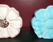 Vintage Pair of Pansy Ceramic Wall Pockets