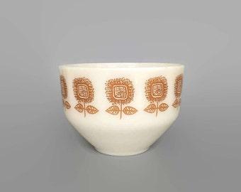 Vintage Federal Glass Gold Yellow Flower Bowl Mid Century Kitchen // Collectible Milk Glass // Retro Kitchen