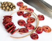 10 Autumn Red Ceramic Cornflake beads Rustic Fall Colors Speckled Red Yellow Brown Orange Chips spacer  Mykonos Greek Bead 16mm Matte washer