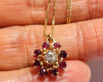 """Diamond Ruby Necklace Vintage Ruby Pendant w 33 pt. Diamond 8 Genuine Rubies Antique Ruby Pendant Solid 14k Gold On 16"""" Solid 14k Box Chain"""