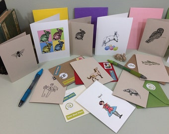Mix and match notecards and greeting cards, all occasion notecards illustrated with my animal drawings. 10 cards for half price.