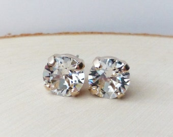 Rose Gold Swarovski Stud Earrings, Clear Diamond Crystal Rhinestone Stud Earrings, Post Earrings, Round Crystal Studs, Gift for Her, Bridal