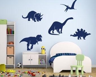 Dinosaur Wall Decals, Dinosaur Decal, Nursery Vinyl Wall Decal, Wall Sticker, Child's Room Wall Decal, Dinosaur Silouhettes, Dinosaurs