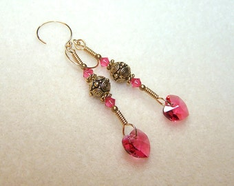Pink Heart Earrings Gold and Pink Crystal Jewelry Long Dangle Crystal Heart Earings for Women Heart Gifts for Her Wire Wrapped Pink Gifts