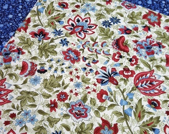 Reversible Placemats - Floral Placemats - Heat Resistant - Blue Placemats - Set of 2