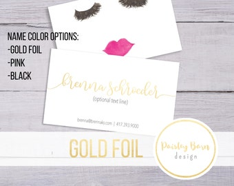 BUSINESS CARDS Lashes and Lips | gold foil, skincare, business, marketing, printed, skincare tool, personalized, direct sales, Rodan, Fields