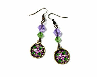 Psychedelic Green Purple Mandala Earrings,  Kaleidoscope, Dangle, Mandala Jewelry, New Age Jewelry, Cross, Gift For Her