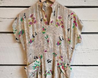 Vintage 1940s silk novelty print dress • silk dress • 40s novely print