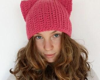 SALE Pink Cat Hat, Pink Pussycat Hat, Crochet Pussycat Hat, Pussy Cat Hat, Feminist Hat, Women's March Hat, Pink Cat Beanie Hat