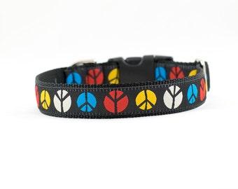 "Peace Symbol Dog Collar, Peace Dog Collar, Peace Collar, Hippie Dog Collar, Buckle Collar, Martingale, 1"""