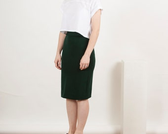 Fitted Forest Green Skirt / High Waisted Pencil Skirt / Knee Green Skirt
