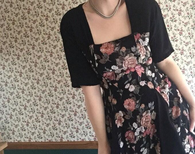 Rose Skater Dress   90s grunger naf botanical rose floral print square neckline flutter sleeve waist tie flared mini LBD hippie witch dress