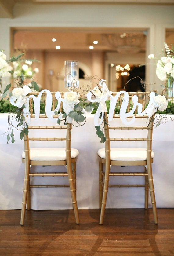 Chair Signs Mr Mrs For Boho Chic Wedding Chairs Bride