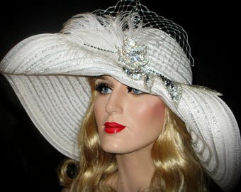 DERBY SPECTATOR CLASSIC- Silver & White Kentucky Derby Hat, Wide Brim Derby Hat, White And Silver Stripe High Tea Hat, Wedding Picture Hat