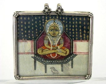Antique Indian Amulet, Indian Miniature Pendant, Bala Krishna, Hand Painted Watercolour, Gold Paint, High Grade Silver, Glassed, 23 Grams