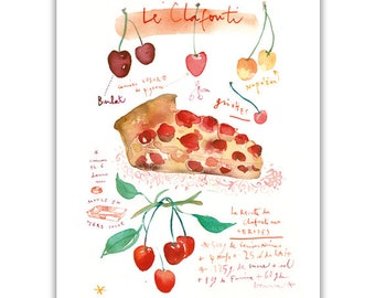 French clafouti recipe print, Fruit pie poster, Illustrated recipe, Food art, Watercolor painting, Cherry tart, Kitchen decor, Cherry cake