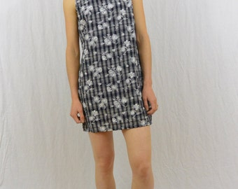 Vintage Floral Checked Mini Dress, Size XS- Small, Petite, 90's Clothing, Grunge, Minimalist, Black and White, Shift Dress