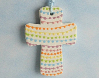 Handmade Ceramic Cross, Easter Pastel Dots, Confirmation Cross, Christian Ornament, Baptism Cross, Pottery Cross, Christening Favors