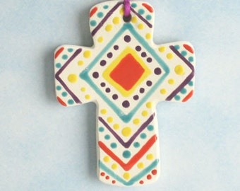 Small Clay Cross, Handmade Ceramic Cross, Confirmation Cross, Christian Ornament, Baptism Cross, Christening Favors, Mother Day Idea