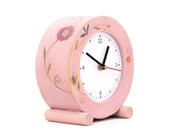 Desk Clock Circle, Pink Clock Folk Art, Table Wood Clock Powder Pink, Flowers ornament, Folk art gift for Mother, Spring Rouge Decor