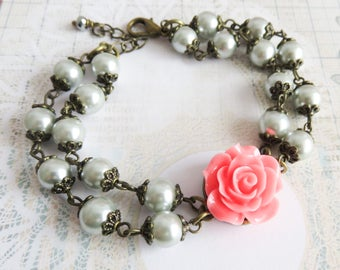 Grey with pink bridesmaid bracelet, pearl bracelet, vintage style wedding jewelry, flower bracelet, bridesmaid gift