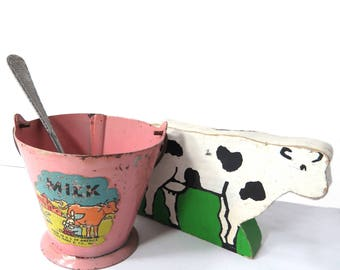 Vintage Louis Marx Toy Milk Pail / Bucket with Handle, Metal, Maiden Milking Cow Decal