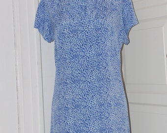 50s 60s Dress, Shift, Blue and White, Starry Night Print, Neck Tie,  Button Detail, Size Large