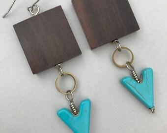 Turquoise Arrow, Brass, and Ebony Wood Dangle Earrings