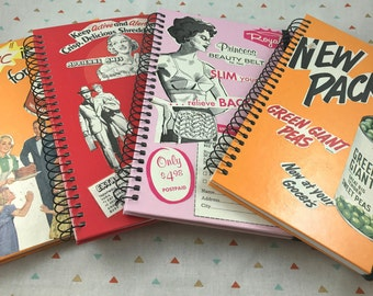 journal notebooks upcycled vintage ads FREE SHIPPING
