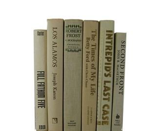 Vintage White and Cream Books, Bridal Shower , Beige Ivory Decorative Books, Photo Props, Wedding Decor, White Home Decor, Old Books