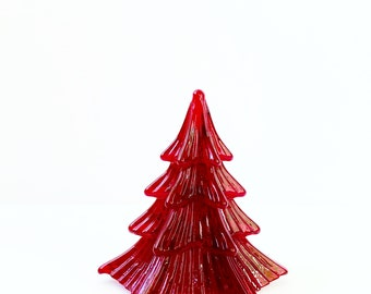 "Red Glass Christmas Tree Figurine Vintage Glass Art Fir Tree 4 1/2"" Tall Christmas Decor Holiday Decorations Noel Pine Tree Paperweight"