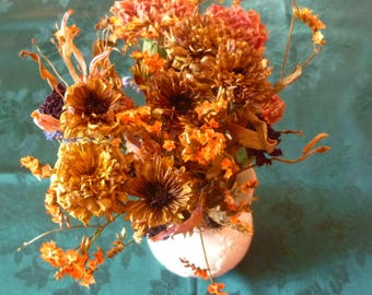 Dried Bouquet Oranges, Browns, Yellows, Mauves, Pinks-Naturally Air Dried