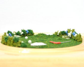 A Day on the Golf Course - Miniature Golf Diorama Table Top Garden Miniature Golf Scene Miniature Garden Handmade by A Garden to Treasure