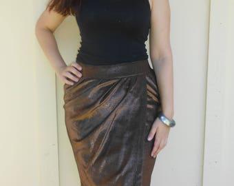 Vintage 1980s PIERRE CARDIN bronze metallic high-waisted asymmetrical skirt, size Large