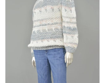 30% 0FF SALE Hand Knit 80s Sweater Puff Sleeve Sweater 1980s Sweater Grey Pink White Striped Sweater Chunky Knit Oversize Sweater