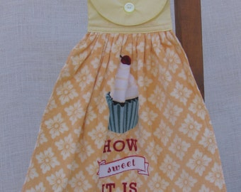 "Cupcake Kitchen Tea Towel, Hanging Dish Towel, Baking Theme Towel, Saying Towel, ""How Sweet It Is"", Kitchen Towels, Yellow Decor"