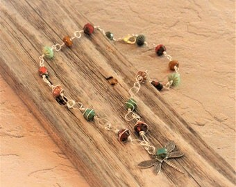Dragonfly Pendant / Silver Wire Necklace / Czech Glass Beads / Wire Wrapped Beads / Boho style / Bohemian / Turquoise / Mint Green / Orange