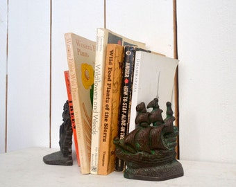 Cast Iron Bookends - Vintage Pirate Sailboat Ship Book Ends - 1960s Spanish Galleon Library Book Shelf Decor