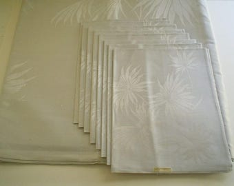 Unused Antique Grey Irish Linen Damask Tablecloth and Napkins Set Palm Leaf Design 84 Inches Long