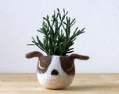 Unique Pet Dog Lover Gift | Succulent Planter, lunar new year, Gift Gardeners, Boston terrier Brown White, Small Flower Pot, Cute Fun Animal