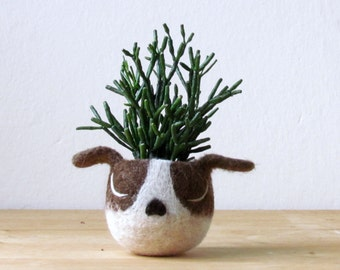 Dog lover gift / gift for her / succulent planter / Cactus planter gifts / dog head planter / dog vase / Boston terrier