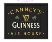 Guinness Irish Pub Sign - Customizable with your Name or Town - Rustic weathered wood sign - Guinness bar sign - Man cave home bar decor