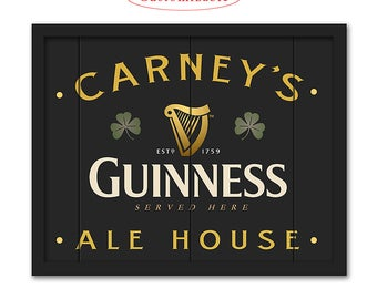 Guinness Irish Pub Sign - Customizable with your Name or Town - Rustic wood sign - Guinness bar sign - Man cave home bar decor