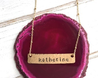 Personalized Jewelry Bar Necklace Birthday Gift for Her Name Necklace Gold Hand stamped Rose Gold Necklace Bridesmaids Gifts Retirement Gift