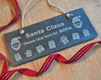 Personalised Santa Claus Slate Sign