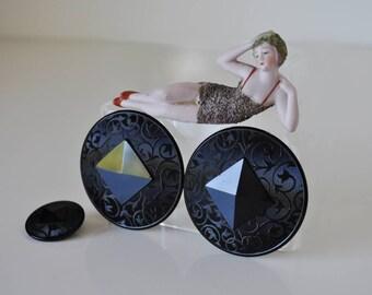 Vintage Art Deco Black Glass Buttons Large