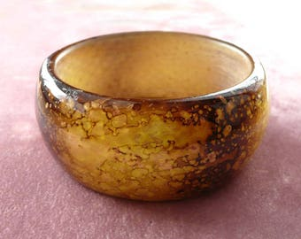 Marbled Lucite Bangle Spotted Gold & Browns Vintage Bracelet
