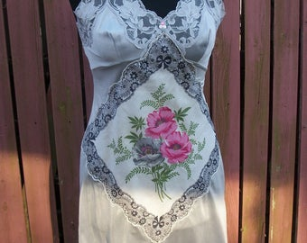 Gray Vintage Lace Slip Dress / Pink & Black Hankerchief - Junk Gypsy Altered Cowgirl Chic - Small