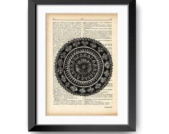Mandala print-Mandala dictionary print-Mandala wall art-Mandala on book page-mandala-mandala wall hanging-mandala art-NATURA PICTA-DP008
