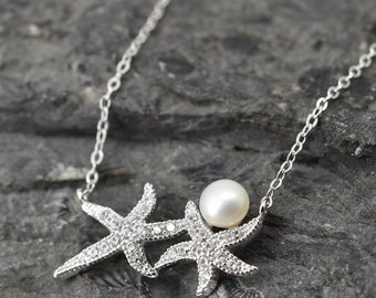 Starfish Necklace, Starfish Pendant, Starfish Jewelry, 925 Sterling Silver, Crystal Necklace Pendant, Bridesmaid Gift,Bridesmaid Necklace